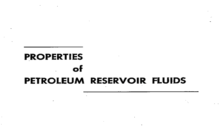 Properties of Petroleum Reservoir Fluids Pdf